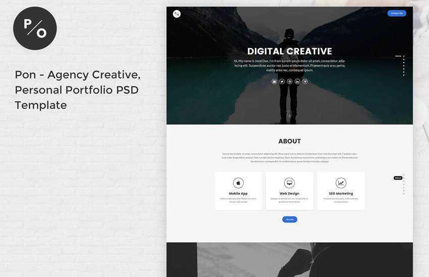 10 Free Personal Portfolio Web Templates For Adobe Photoshop