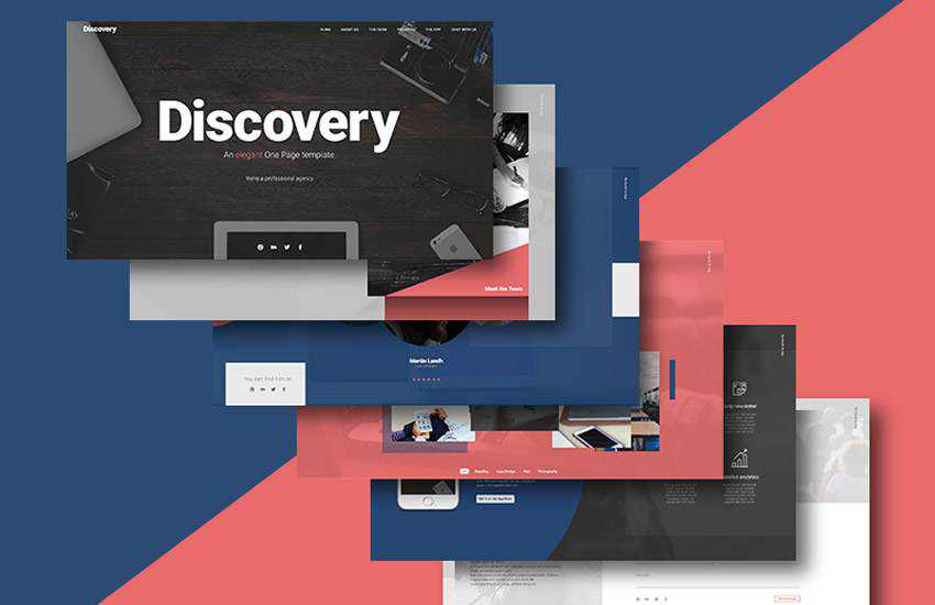 discovery one page website web design layout adobe photoshop template free psd format