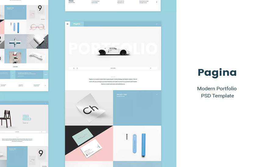 pagina creative portfolio web design layout adobe photoshop template free psd format