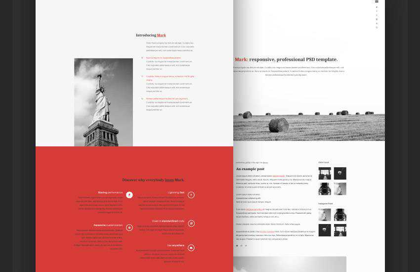 mark portfolio web design layout adobe photoshop template free psd format