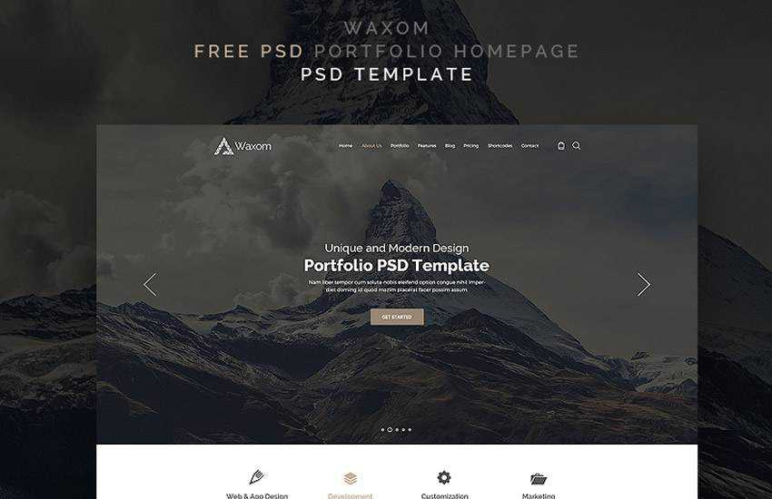 waxom personal portfolio web design layout adobe photoshop template free psd format