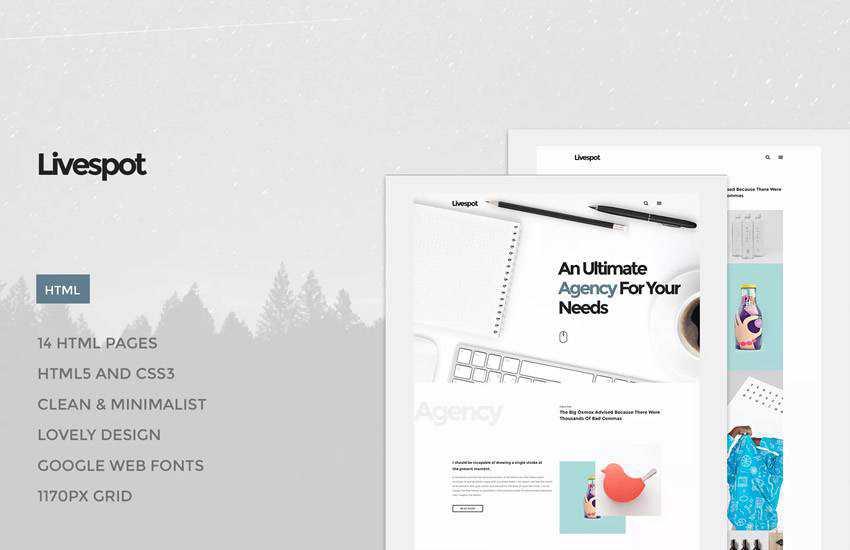 Livespot HTML web design layout adobe photoshop template psd format
