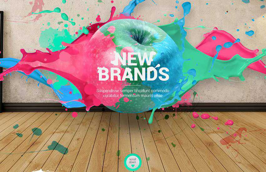 Splashes Creative Design Agency web design layout adobe photoshop template free psd format