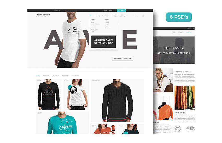 Avenue Fashion eCommerce web design layout adobe photoshop template free psd format