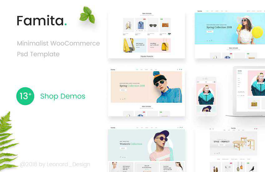 Famita Minimalist WooCommerc web design layout adobe photoshop template free psd format