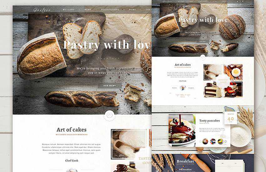 The Bakery Website Bakery eCommerce web design layout adobe photoshop template free psd format
