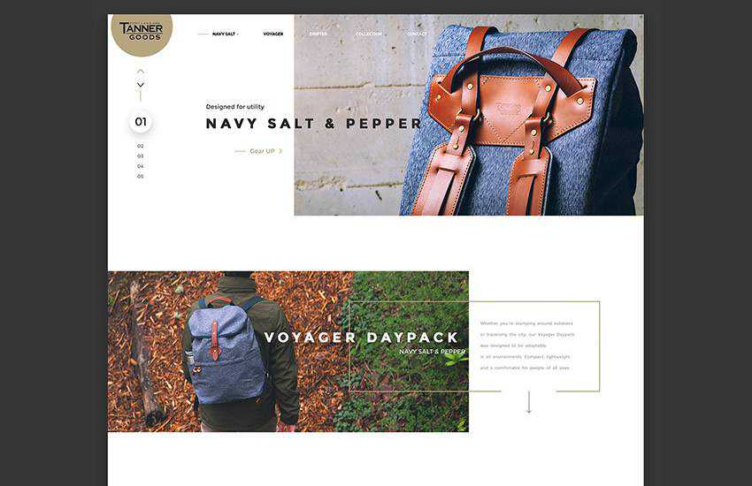 Tanner Collections Stylish eCommerce web design layout adobe photoshop template free psd format