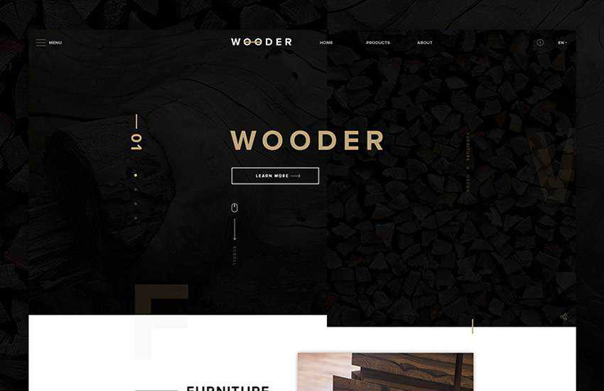 Wooder Furniture Store web design layout adobe photoshop template free psd format