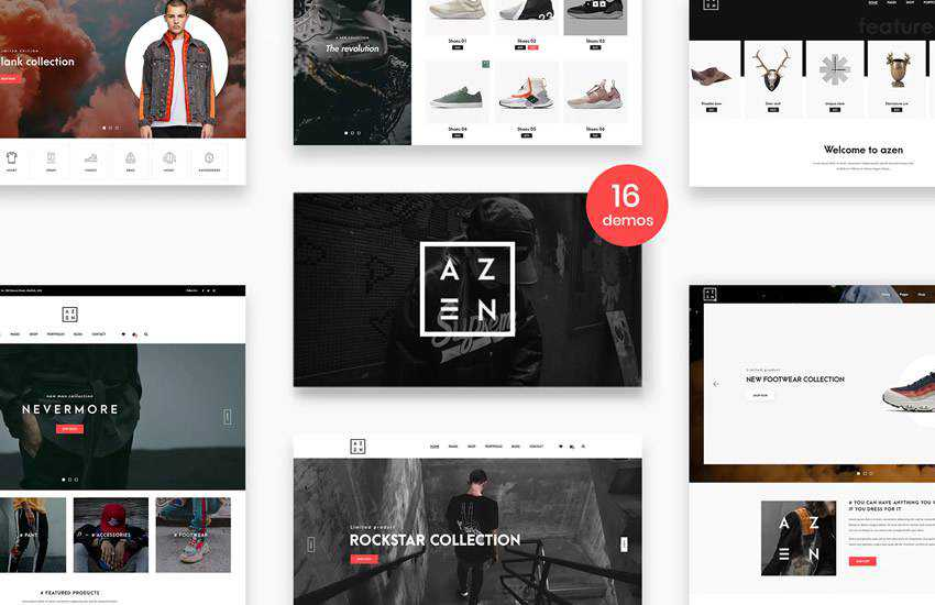 Azen Clean Minimal eCommerce web design layout adobe photoshop template psd format