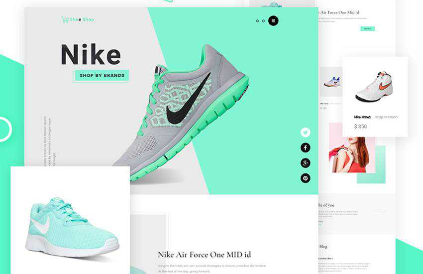 Sneakers Free eCommerce web design layout adobe photoshop template free psd format