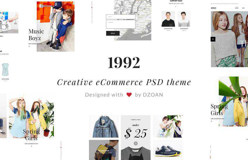 1992 Creative e-Commerce web design layout adobe photoshop template psd format