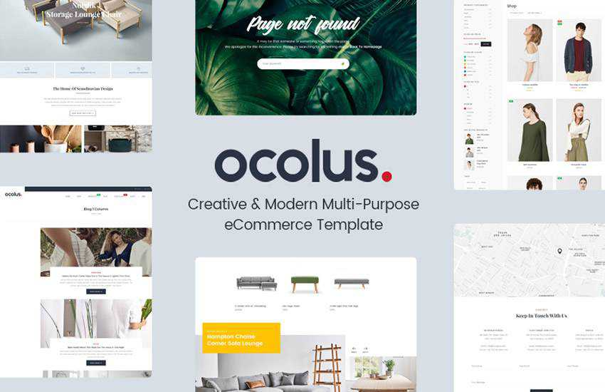 Ocolus Multi-Purpose eCommerce web design layout adobe photoshop template free psd format