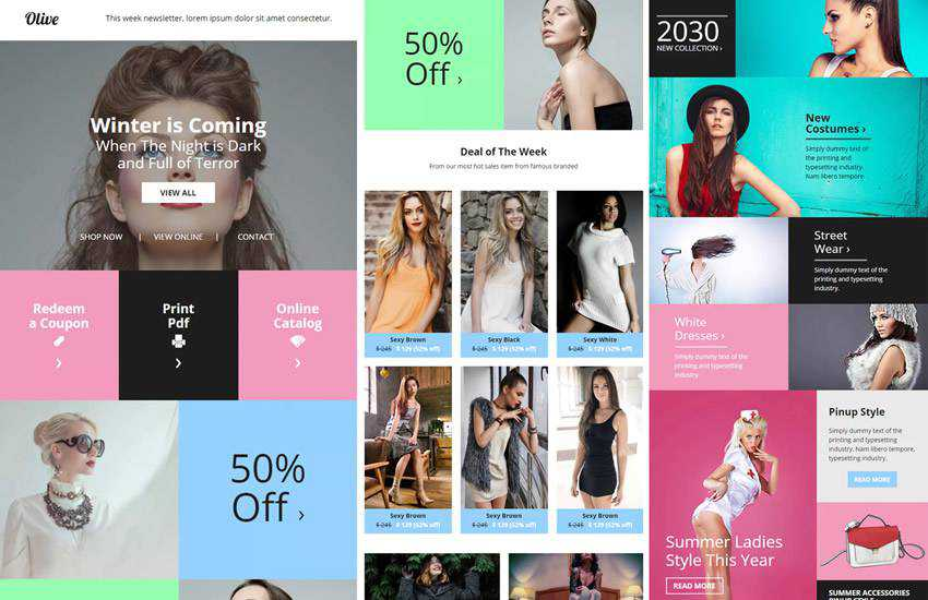 Olive Fashion eCommerce Email Newsletter web design layout adobe photoshop template psd format