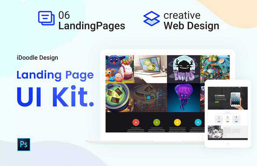 UI Kits Landing Page web design layout adobe photoshop template free psd format