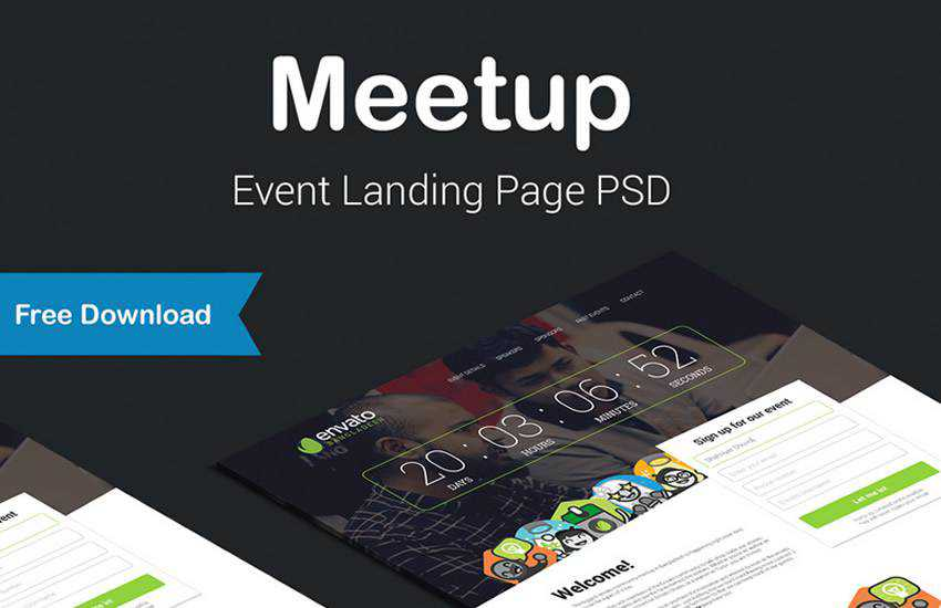 Meetup Event Landing Page web design layout adobe photoshop template free psd format