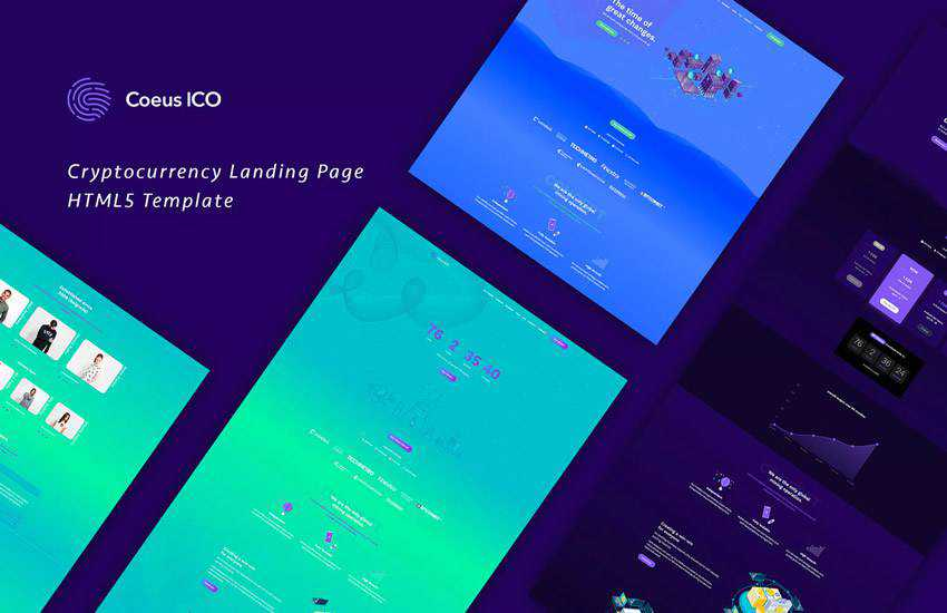 Coeus Cryptocurrency Landing Page HTML web design layout adobe photoshop template free psd format
