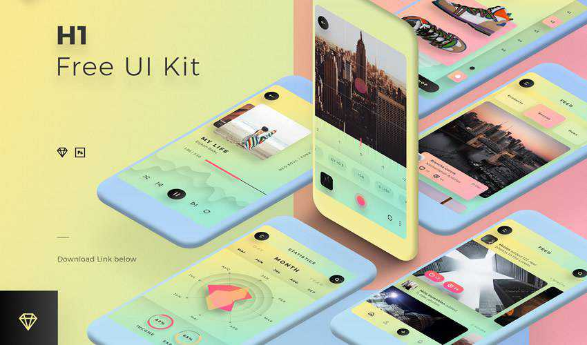h1 sketch mobile app ui kit sketch ux format free design creative sketch.app