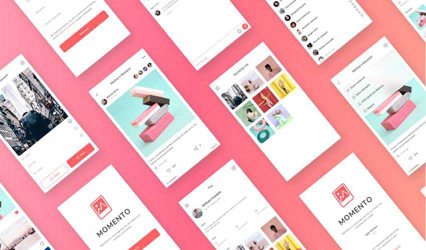 Momento sketch mobile app ui kit sketch ux format free design creative sketch.app