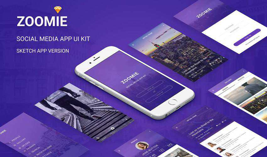 Zoomie Social Media sketch mobile app ui kit sketch ux format free design creative sketch.app