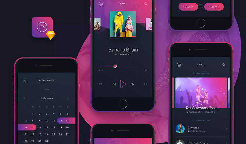 music sketch mobile app ui kit sketch ux format design creative sketch.app
