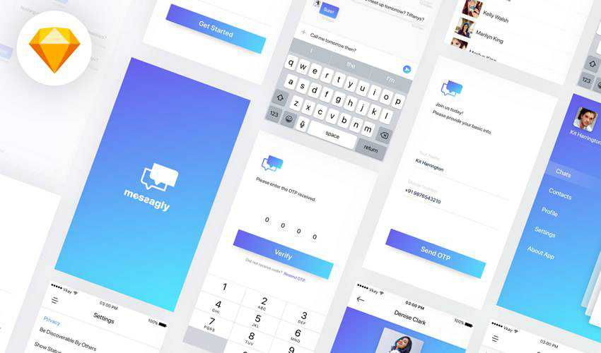 Messagly sketch mobile app ui kit sketch ux format free design creative sketch.app