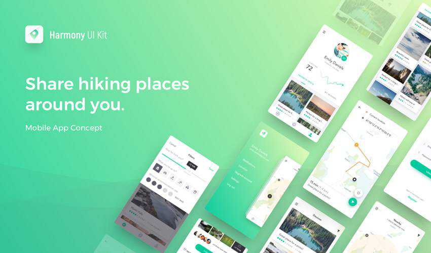 Harmony sketch mobile app ui kit sketch ux format free design creative sketch.app