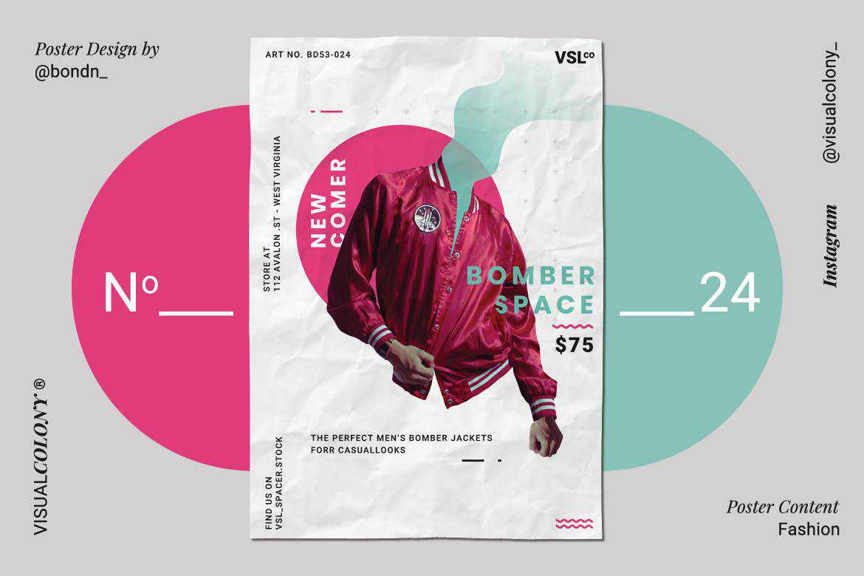Fashion poster mockup template format Adobe Photoshop