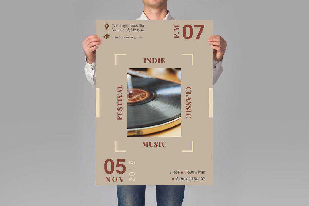 music poster mockup template format Adobe Illustrator