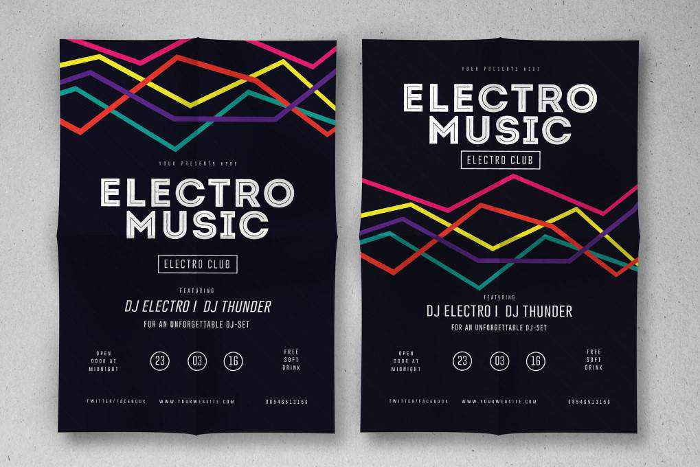 Electro Musik Flyer poster mockup template format Adobe Photoshop Illustrator