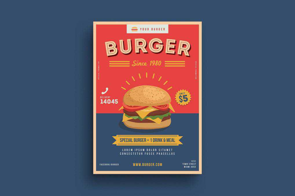 burger food poster mockup template format Adobe Photoshop Illustrator