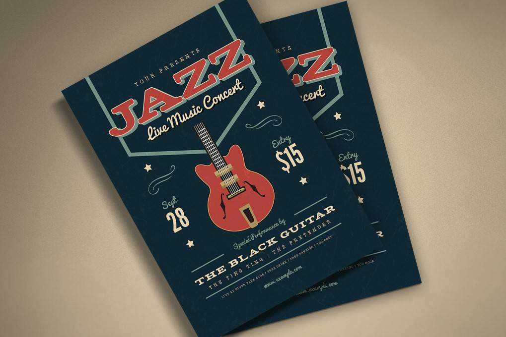 Music Jazz Flyer poster mockup template format Adobe Photoshop Illustrator