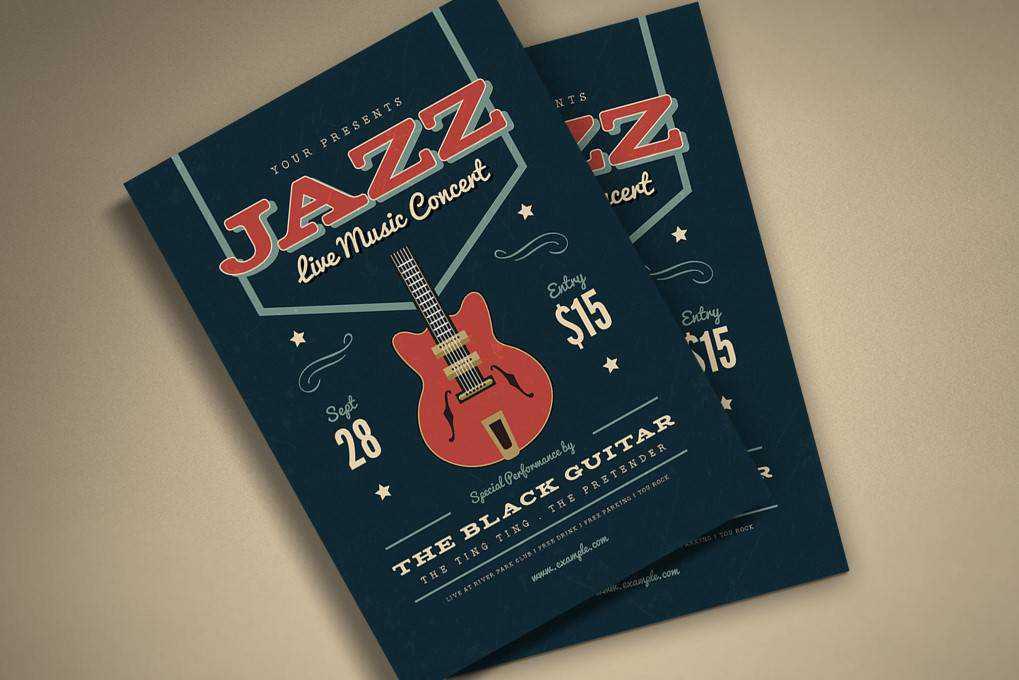 Music Jazz Flyer poster mockup template format Adobe Photoshop Illustrator