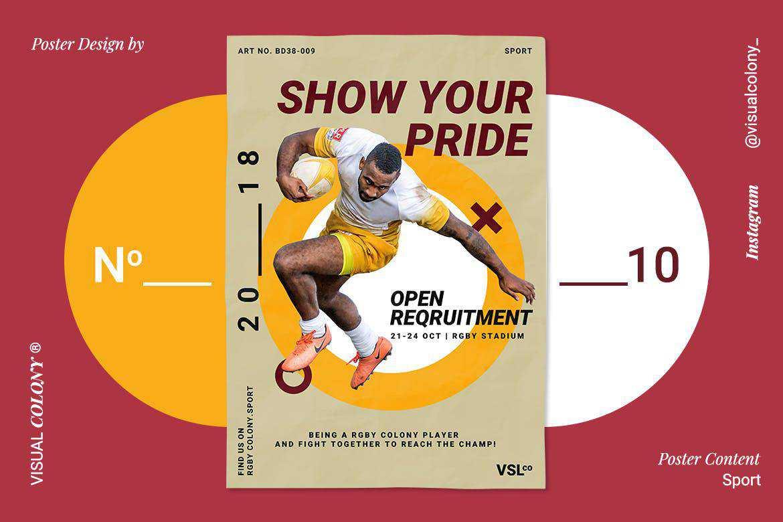 sport poster mockup template format Adobe Photoshop