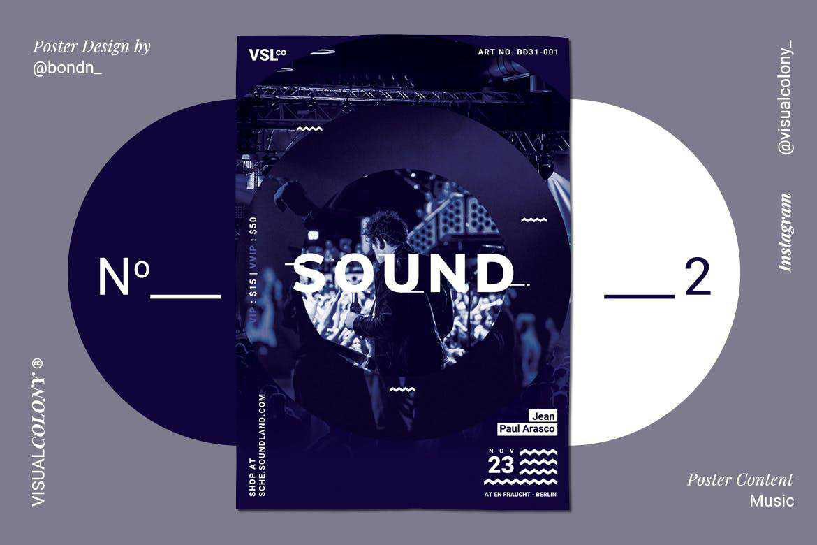 music poster mockup template format Adobe Photoshop