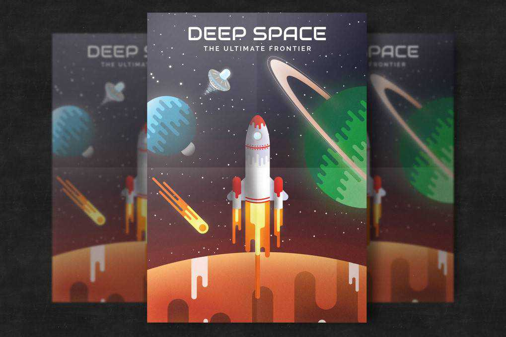 Flat Space poster mockup template format Adobe Photoshop