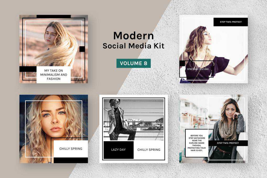 modern kit social media template pack format Adobe Photoshop