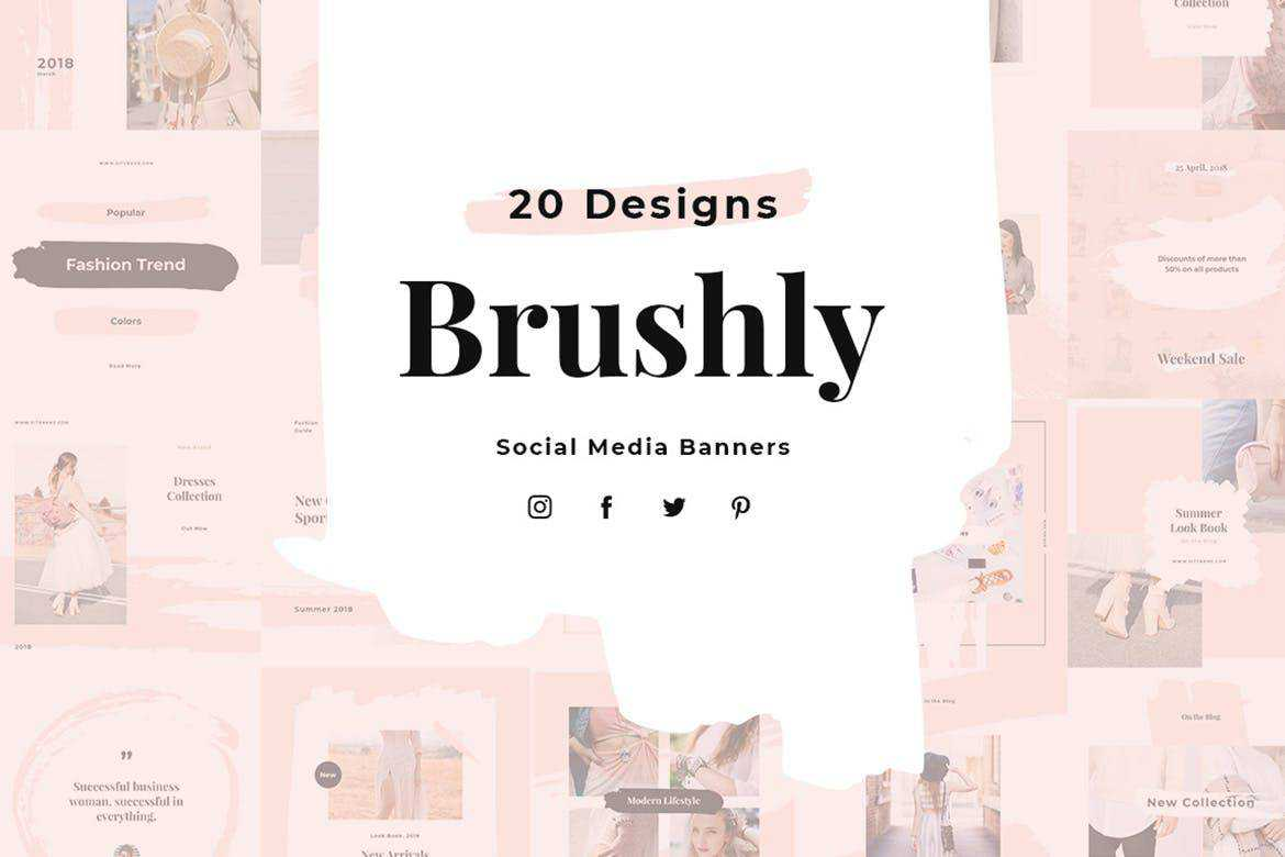 Brushly social media template pack format Adobe Photoshop