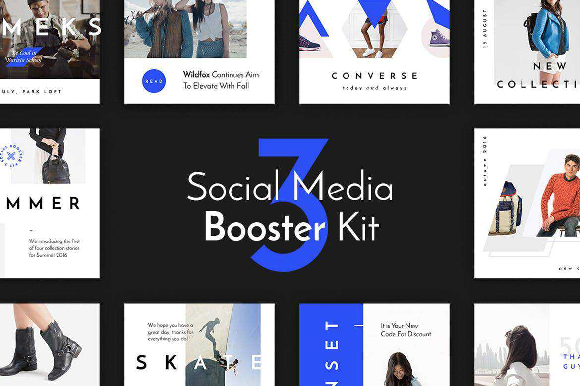 Booster Kit 3 social media template pack format Adobe Photoshop