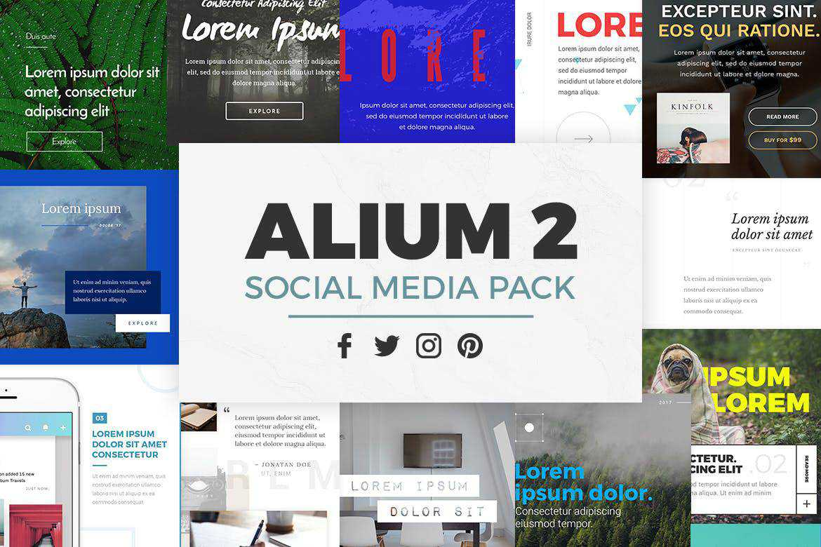 alium 2 social media template pack format Adobe Photoshop