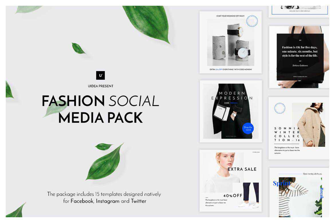 fashion social media template pack format Adobe Photoshop