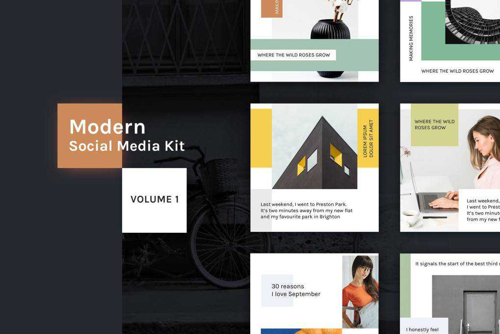 Modern Social Media Kit Vol. social media template pack format Adobe Photoshop