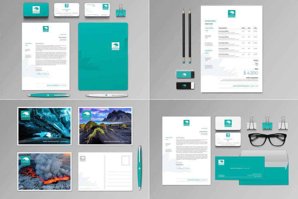 Stego Stationery Set Invoice corporate stationery business template format
