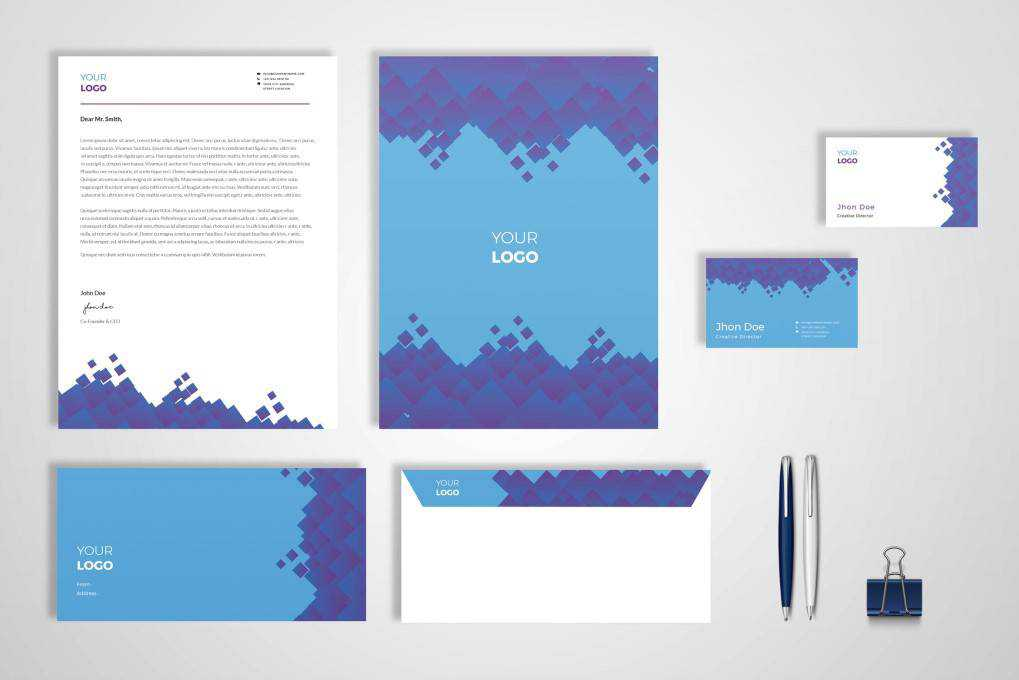 Modern Geometric Pattern corporate stationery business template format