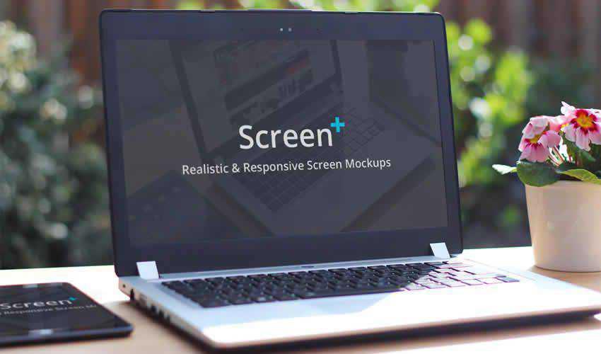 screen ScreenPlus Realistic website responsive mockup template web design edit ps photoshop
