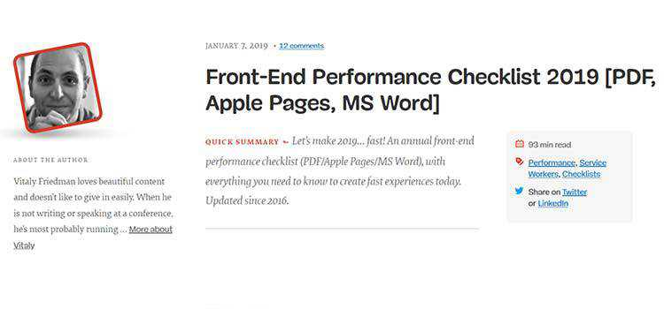 Front-End Performance Checklist 2019