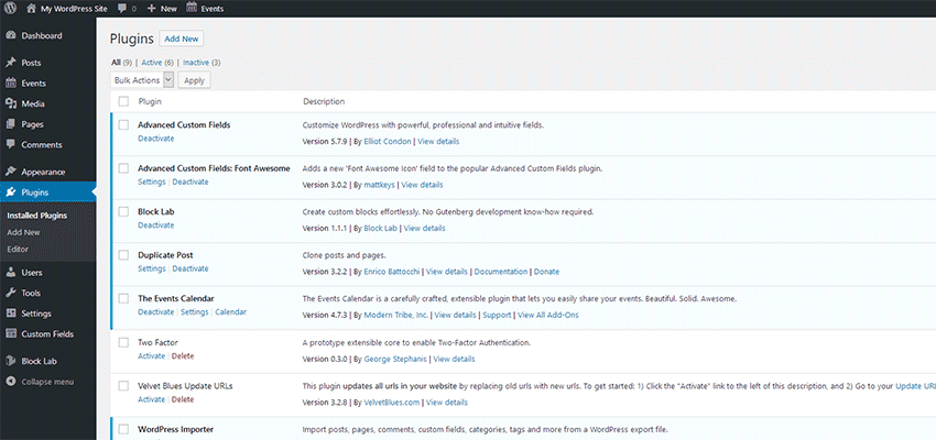 WordPress plugins page.