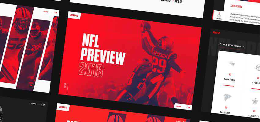 ESPN NFL Preview sport fitness web design inspiration ui ux