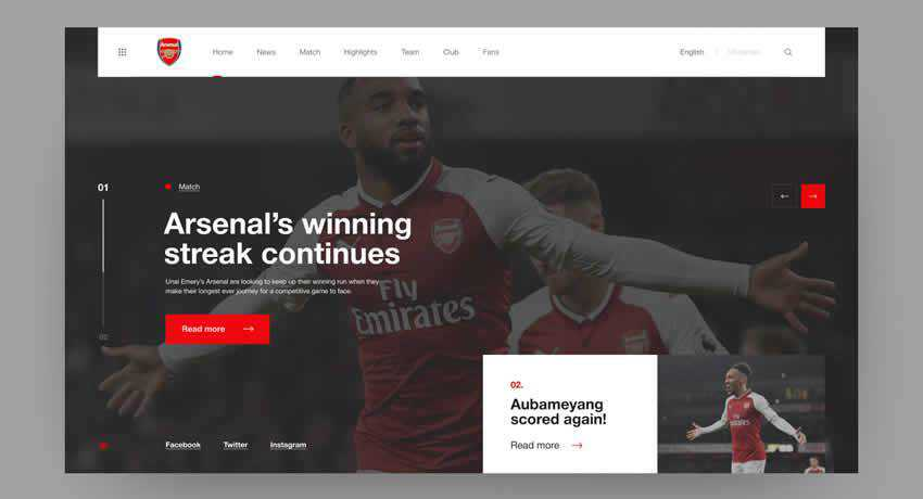 Arsenal London Redesign football sport fitness web design inspiration ui ux