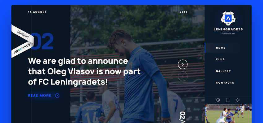 Leningradets Football Club sport fitness web design inspiration ui ux