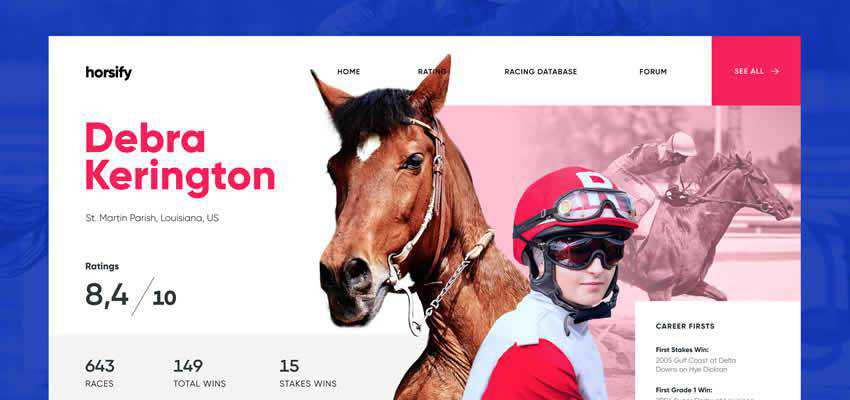 Horse Racing sport fitness web design inspiration ui ux